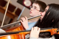 Worcester Youth Orchestras in rehearsal at Pakachoag Music School