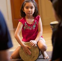 Drumming time during a Rhythm Kids class