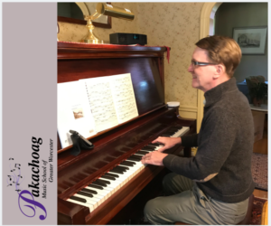 Adult Piano student Neel prepares for lesson